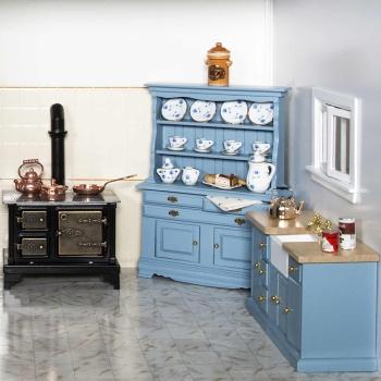 Küchenanrichte mit Spülbecken, blau