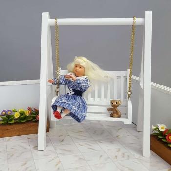 Gartenmöbel, weiß (2 Sessel, Tisch, Hollywoodschaukel)