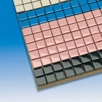 Terracotta floor tiles, mounted on a mesh, 150 x 300 mm