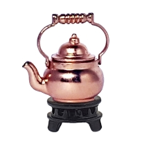 Tea kettle, copper-plated, with warmer