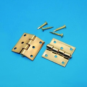 Square brass hinges, gold-plated