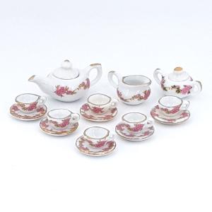 Tea service, porcelain, floral, 15 pcs