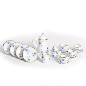 Coffee service, blue flower