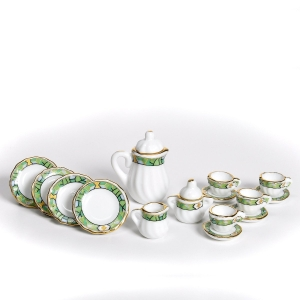 Coffee service, light green trim