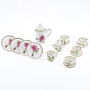Coffee service, rose décor, 15 pcs