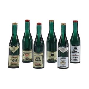 Red wine bottles, 6 pcs.