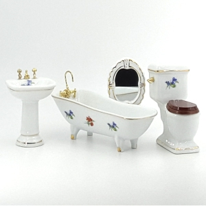 Bathroom, white, porcelain, with decor