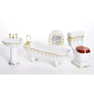 Badezimmer, weiß, Porzellan, mit Dekor in gold