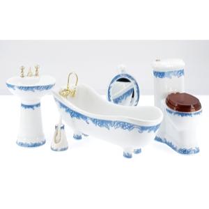 Bathroom, white, porcelain, with blue decor
