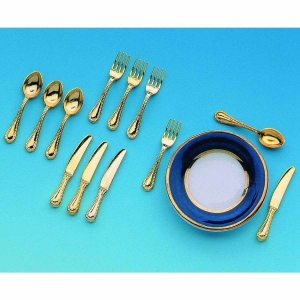 Small cutlery set, 12 pcs, gold-plated
