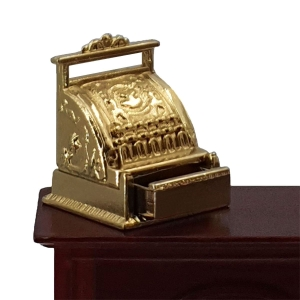 Shop cash register with drawer, gold-coloured