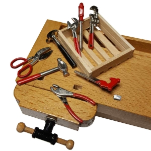 Tools on a wooden panel