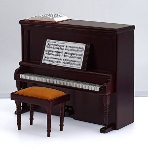 Piano with upholstered stool, mahogany