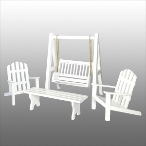 Garden furniture, white (2 armchairs, table, Hollywood swing)