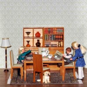 Wohnzimmer, walnuss (4 Regale, Tisch, 4 Stühle)