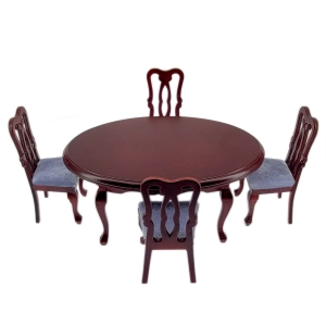 Dining room table, 4 upholstered chairs, mahogany