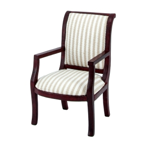 Chair with armrests, striped upholstery, mahogany