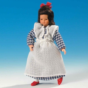 Girl in pinafore dress