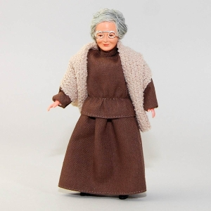 Grandma in brown dress and cape