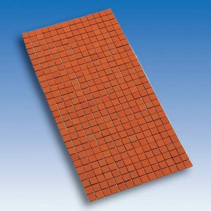 Terracotta floor tiles, mounted on a mesh, 150 x 300 mm