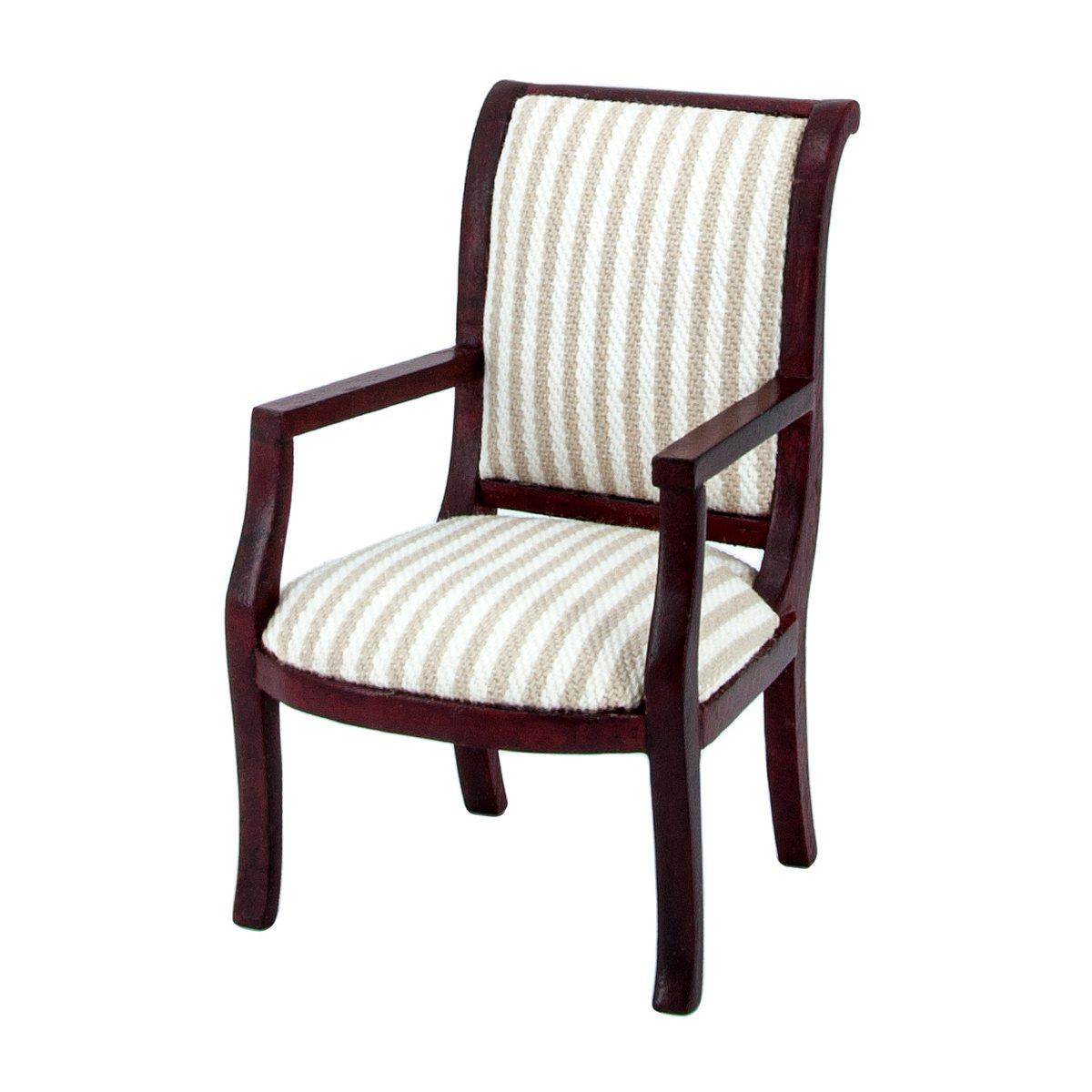 Stuhl mit Armlehnen, Polster gestreift, mahagoni-41855