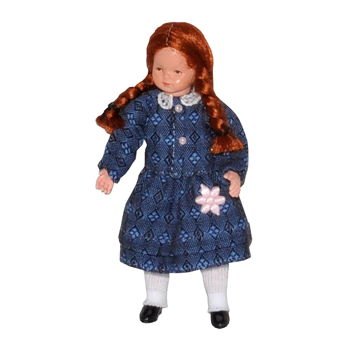 Mädchen im blau-karierten Kleid
