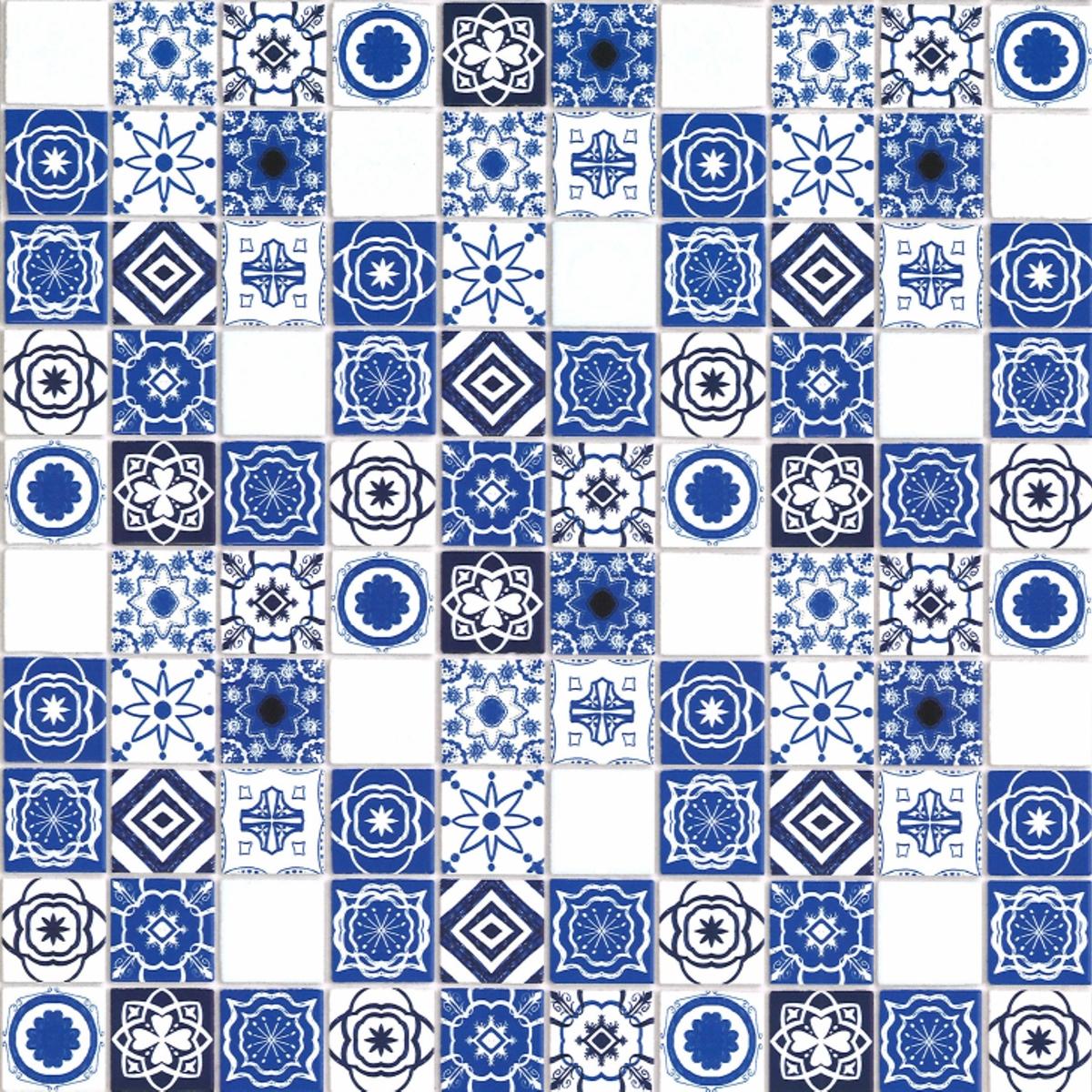 Mediterrane Fliesen, blau, geprägt
